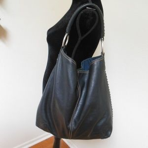 Lucky Brand Slouchy Hobo Whipstitch Black Leather